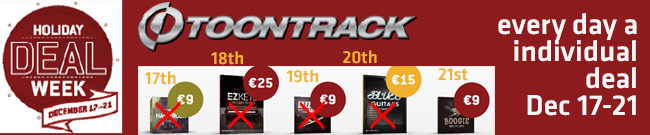 Banner Toontrack Holiday Deal Week