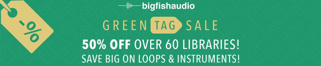 Banner Big Fish Audio - Green Tag Sale - 50% OFF