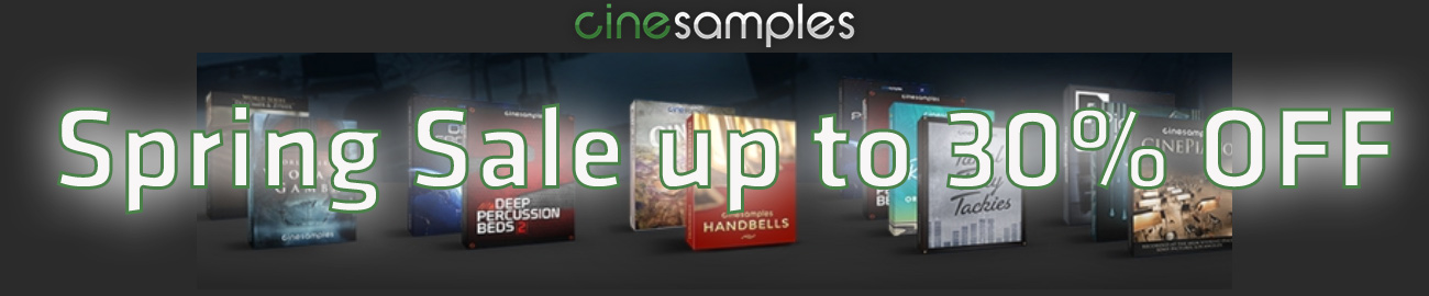 Banner Cinesamples Spring Sale up to 30% OFF