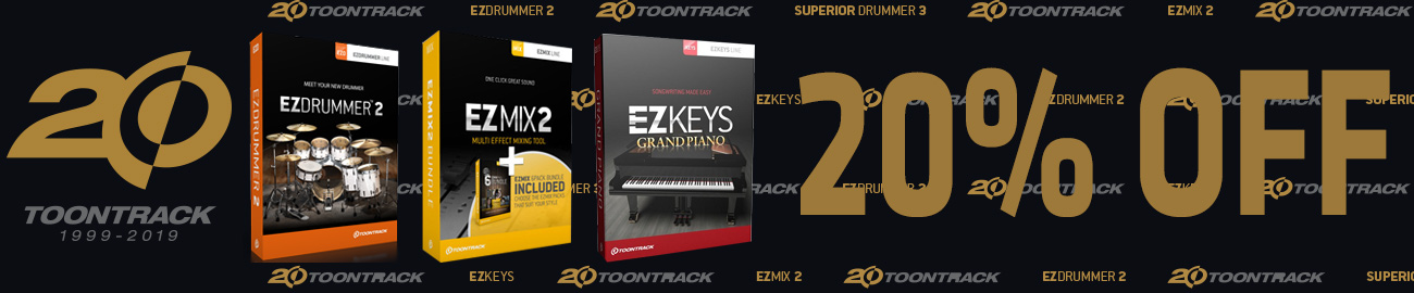 Banner Toontrack 20th Anniversary Sale